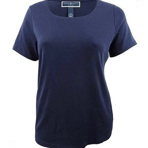 Karen Scott Short Sleeve Navy Crewneck T-shirt